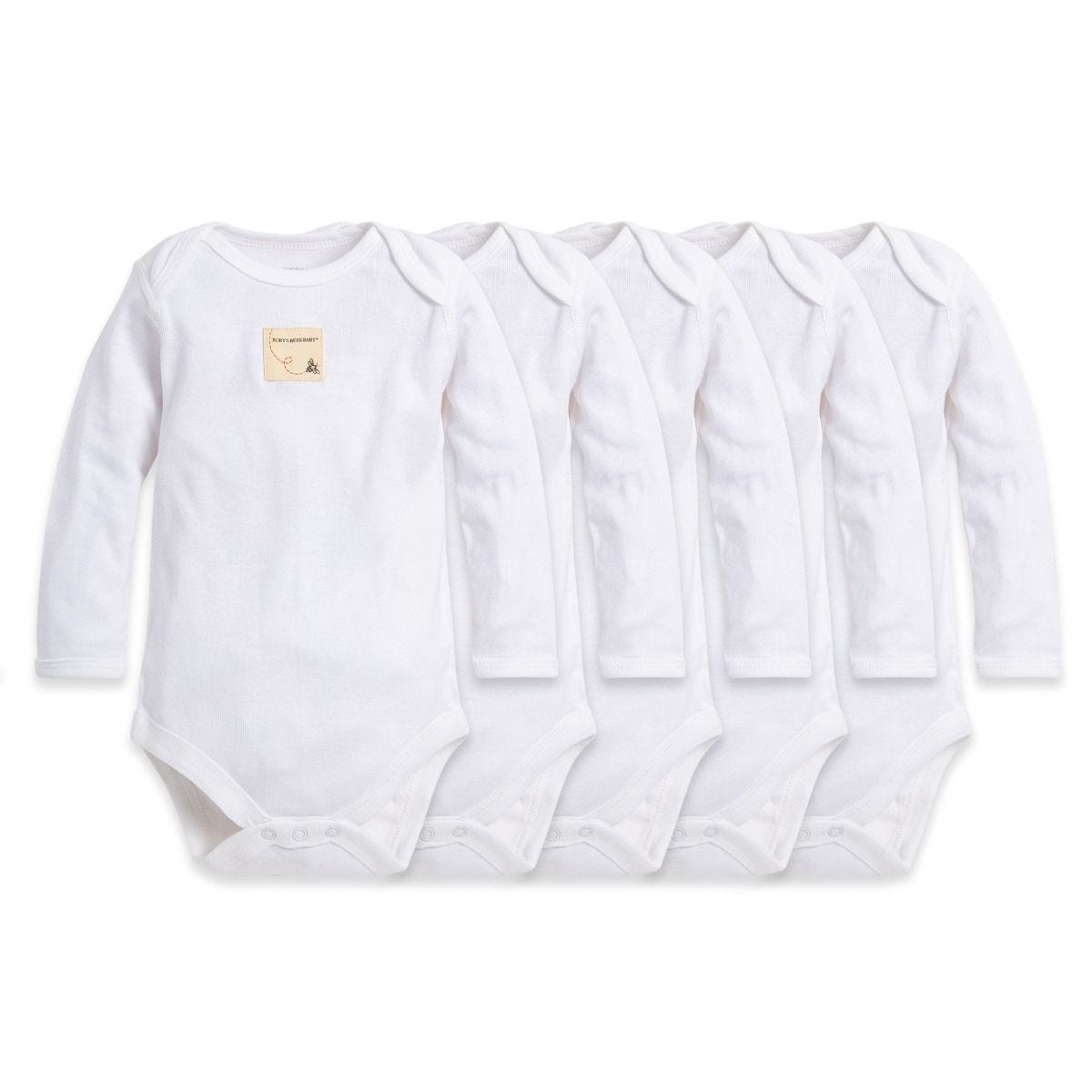 Bee Essentials Organic Long Sleeve Baby Bodysuit 5 Pack