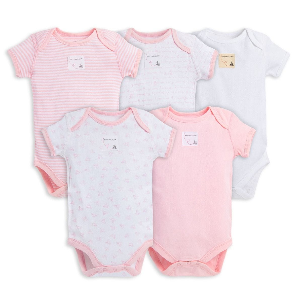 4b91ec974 Bee Essentials Organic Short Sleeve Baby Girls Bodysuits Set of 5 | Burt's  Bees Baby®
