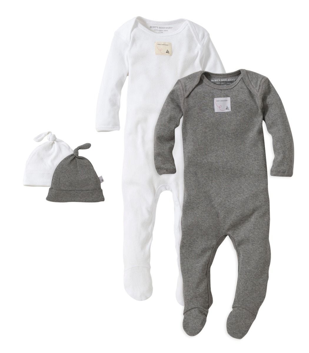 746eff6d1f6 Solid Whte   Grey Organic Baby Romper   Hat - Set of 2