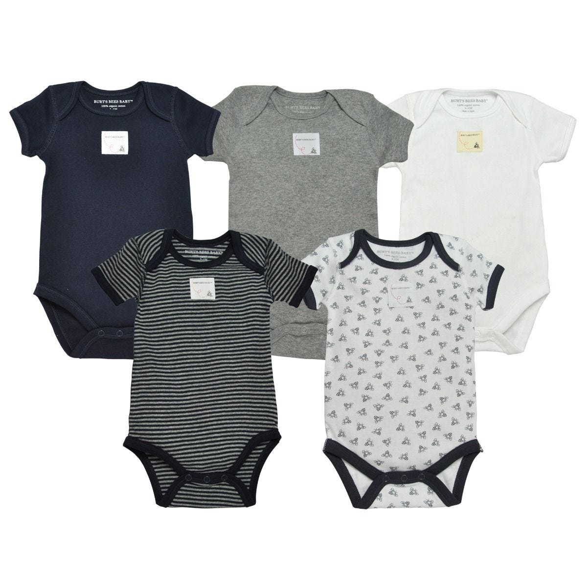 70ccd3b19 Bee Essentials Organic Short Sleeve Baby Bodysuits Set of 5