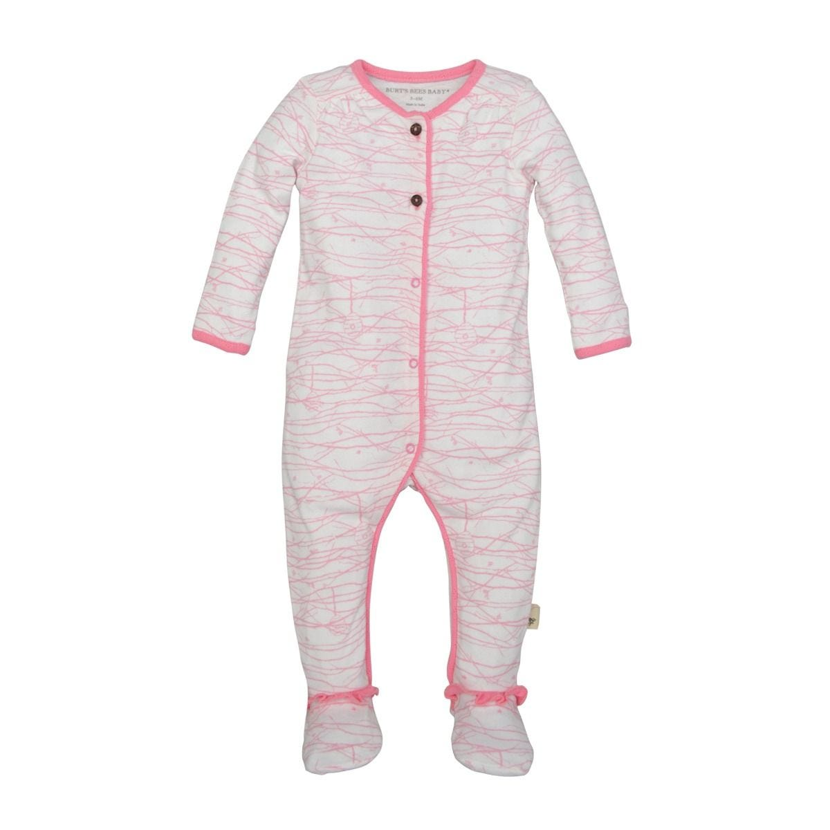 aef8f235c Autumn Trees Organic Pink Baby Girls Footed Romper   Hat Set ...