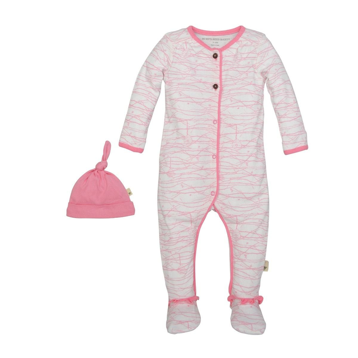da97c3064 Autumn Trees Organic Pink Baby Girls Footed Romper   Hat Set ...