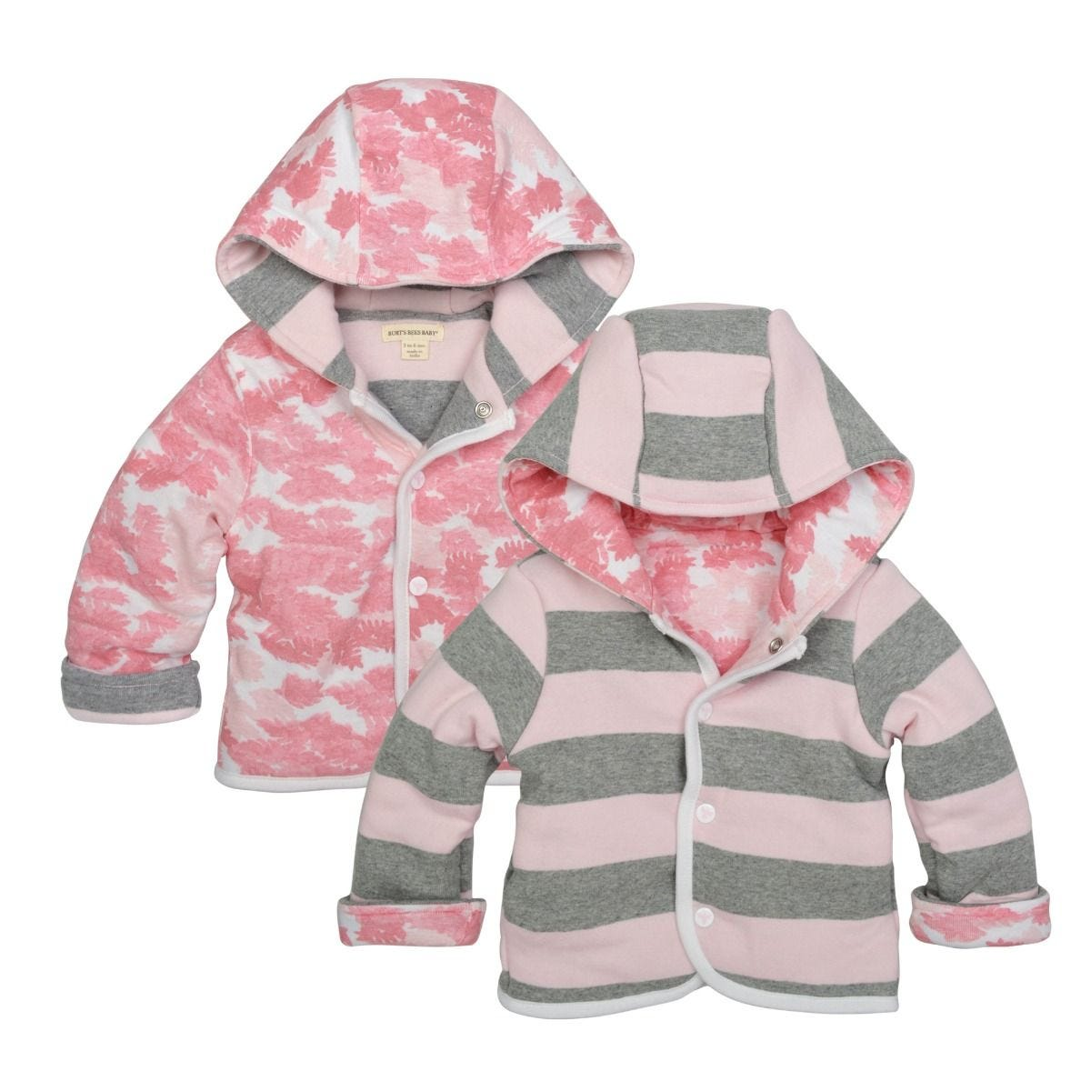 0a92ca859 Snap Front Hooded Organic Baby Reversible Jacket