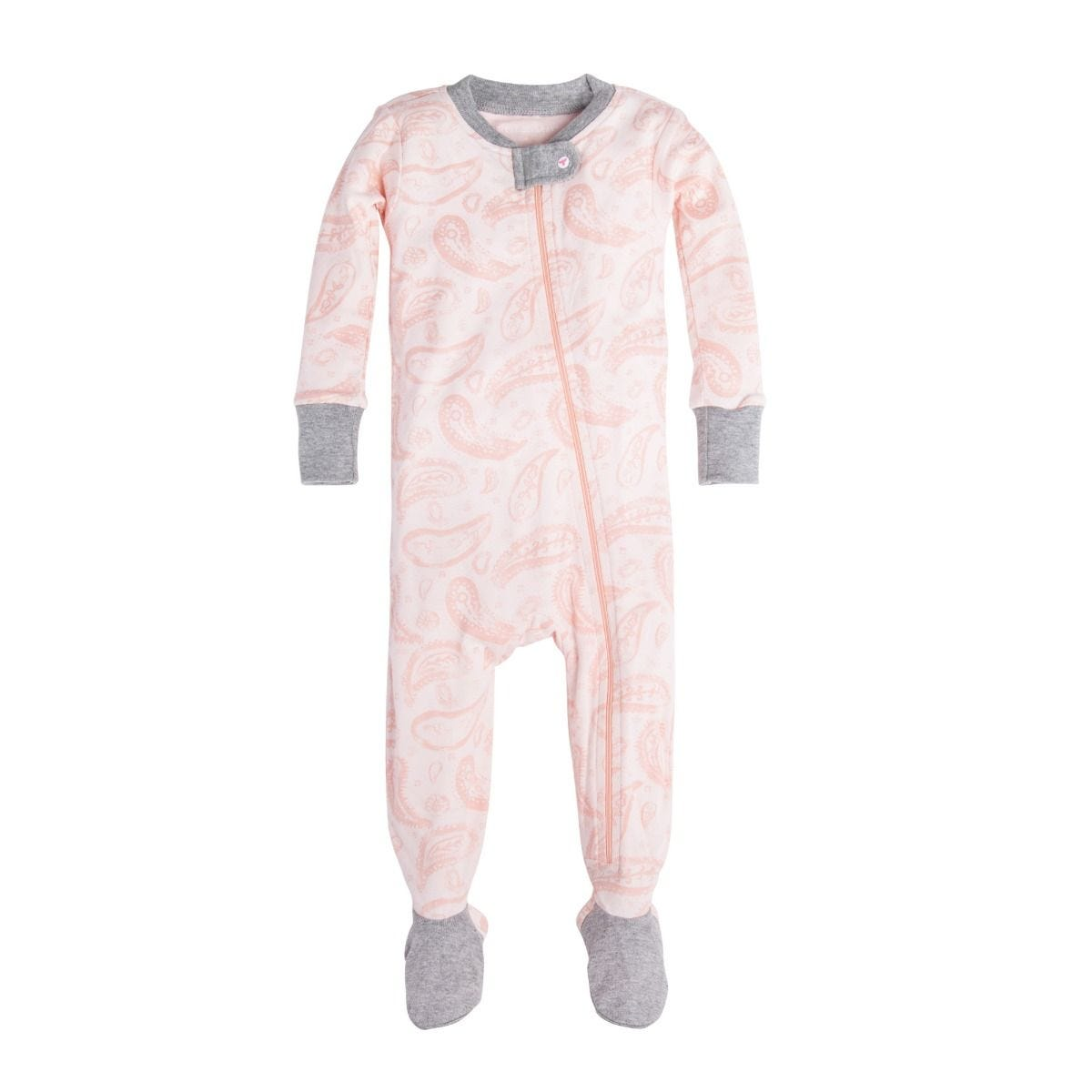 5f108b50d9 Flowery Paisley Organic Baby Zip Up Footed Pajamas