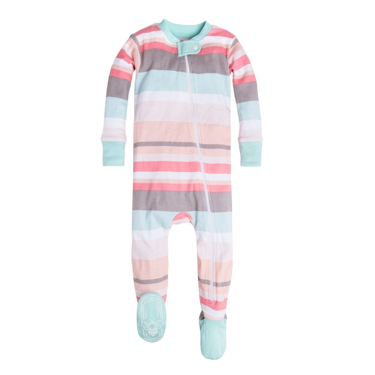 101b21473 Desert Stripe Organic Baby Zip Up Footed Pajamas