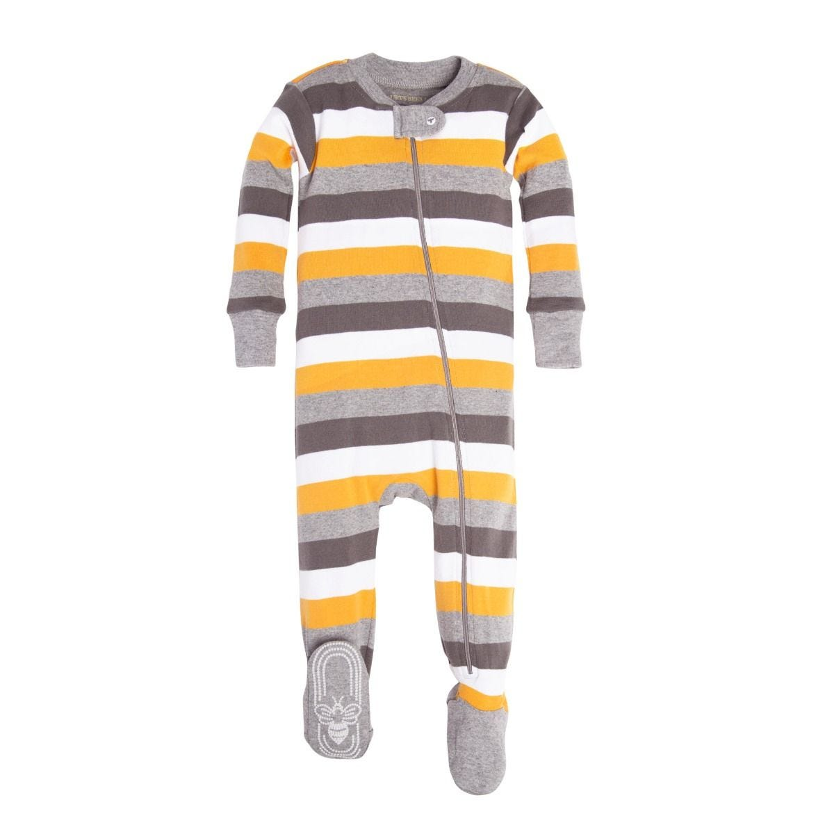 e19e34049ee3 Tri Color Stripe Organic Baby Zip Up Footed Pajamas