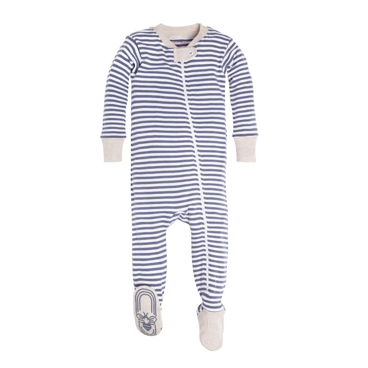 549f5eb7d Stripe Organic Baby Zip Up Footed Pajamas
