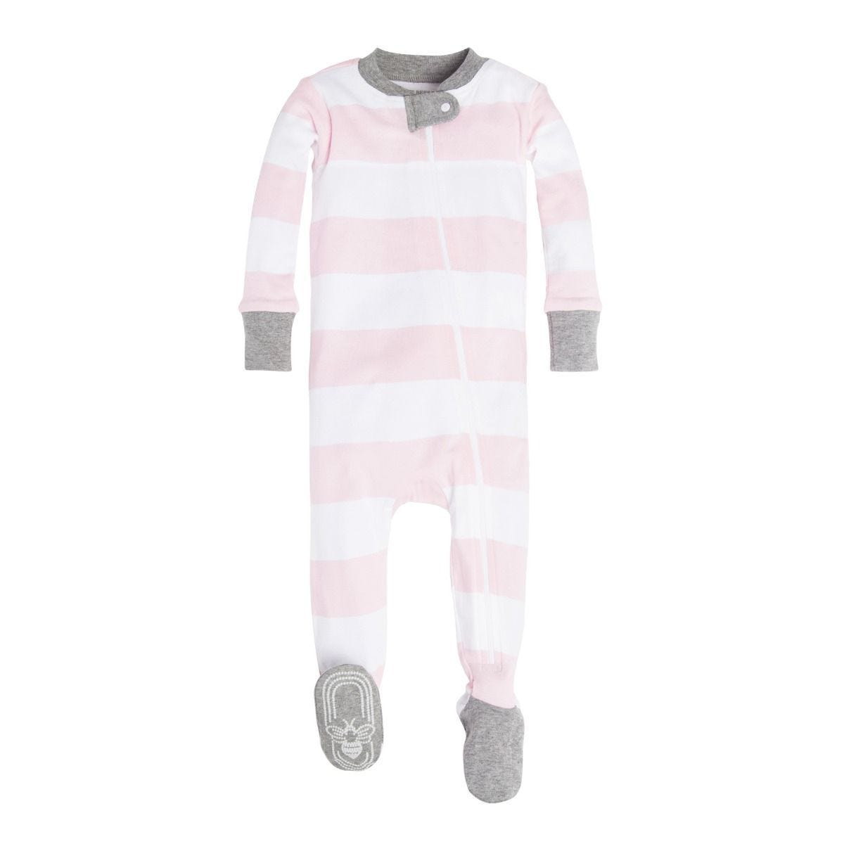 00f7e51af65f Rugby Stripe Organic Baby Zip Up Footed Pajamas