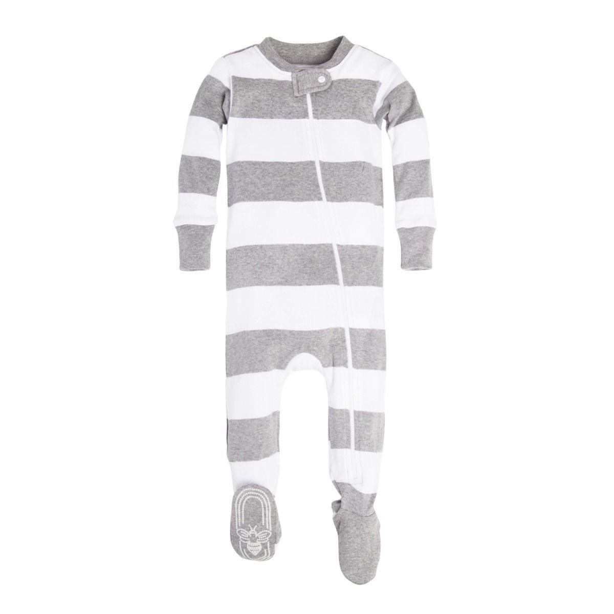 40c4e093d Rugby Stripe Organic Baby Zip Up Footed Pajamas