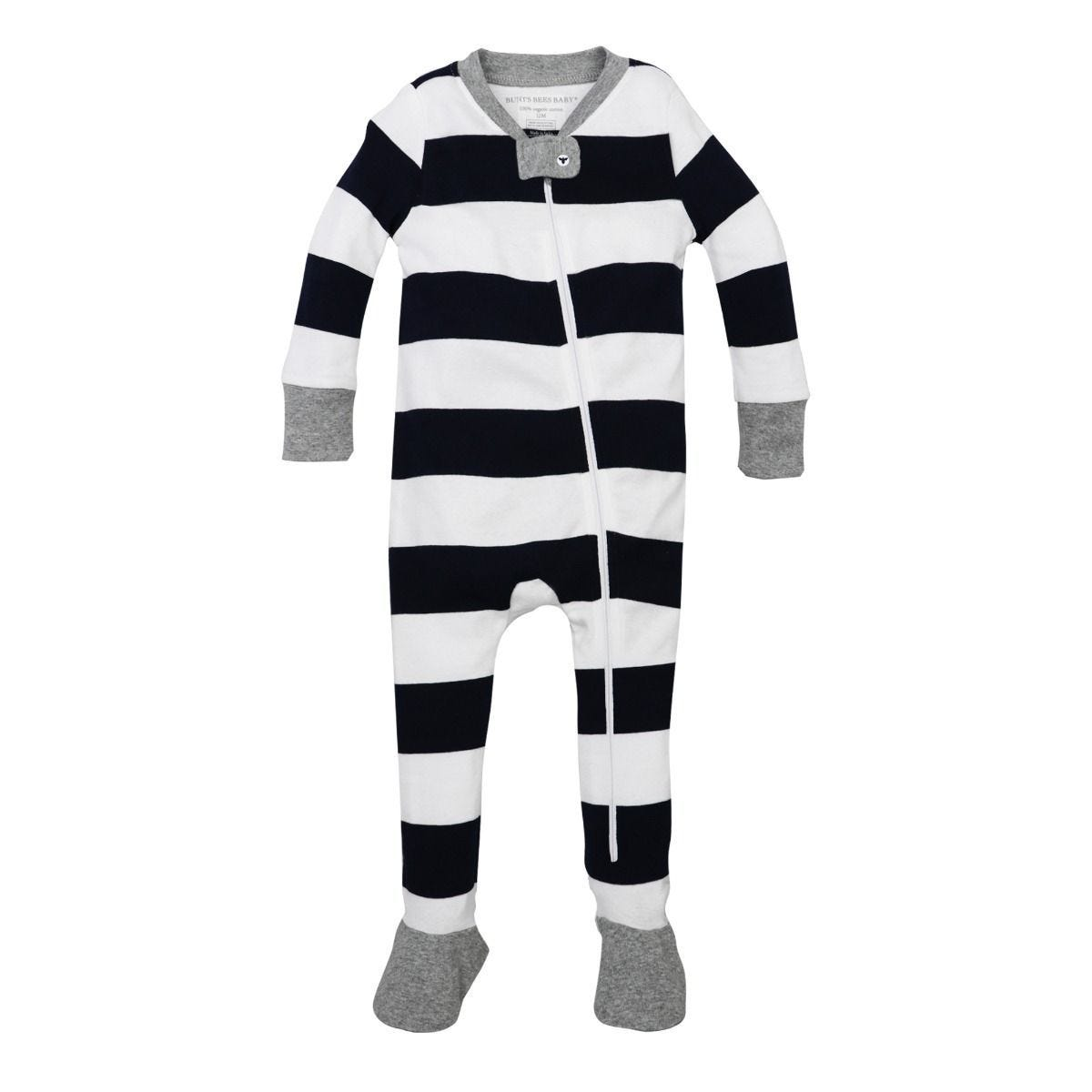 168fc1392 Rugby Stripe Organic Baby Zip Up Footed Pajamas