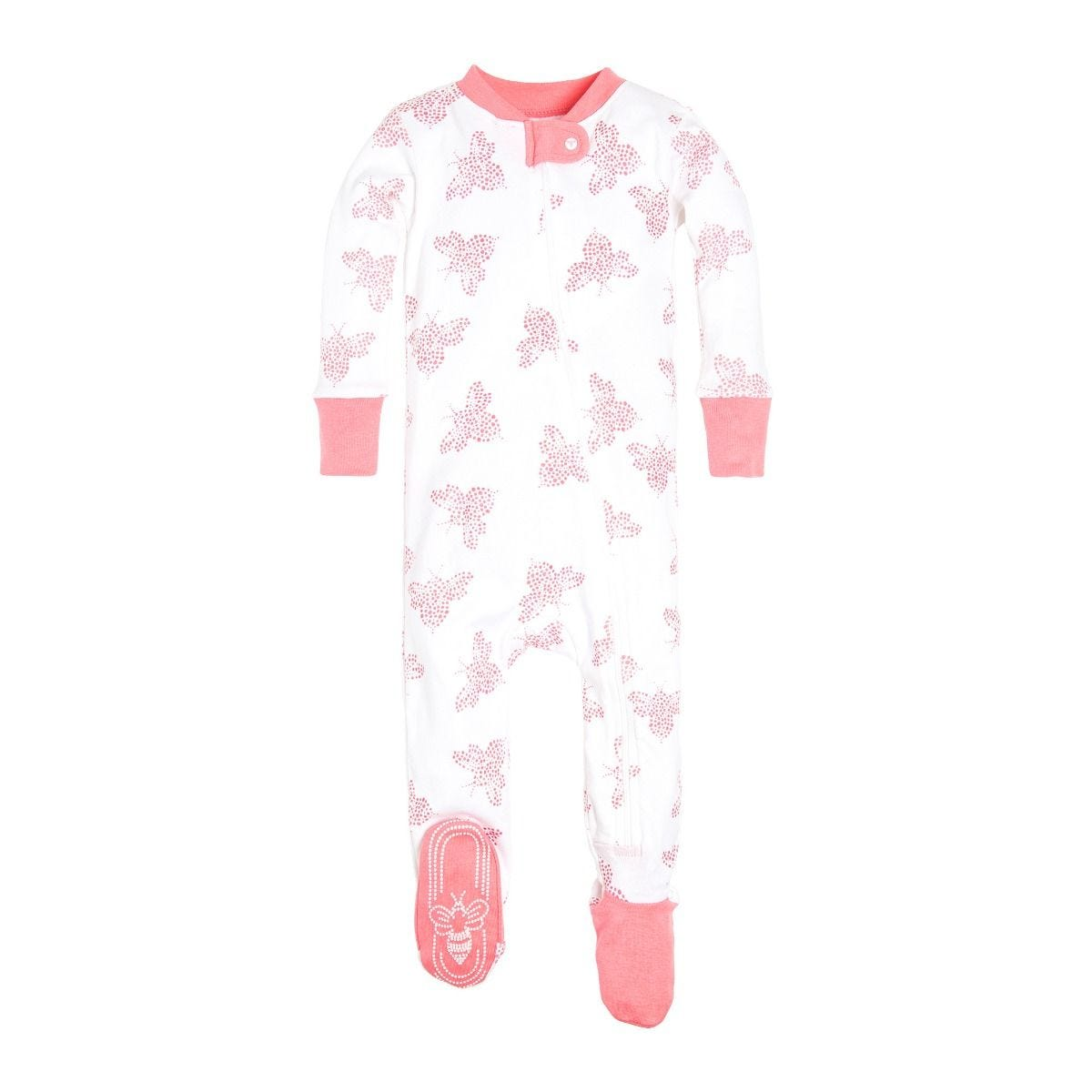 a9d3e8416 Snuggle Bee Organic Baby Zip Up Footed Pajamas
