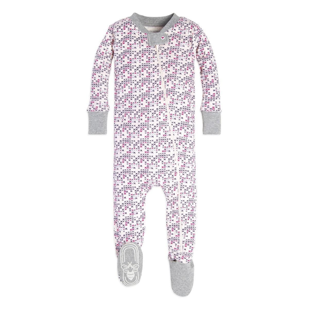 f04055b02894 Micro Cross Stitch Organic Baby Zip Up Footed Pajamas