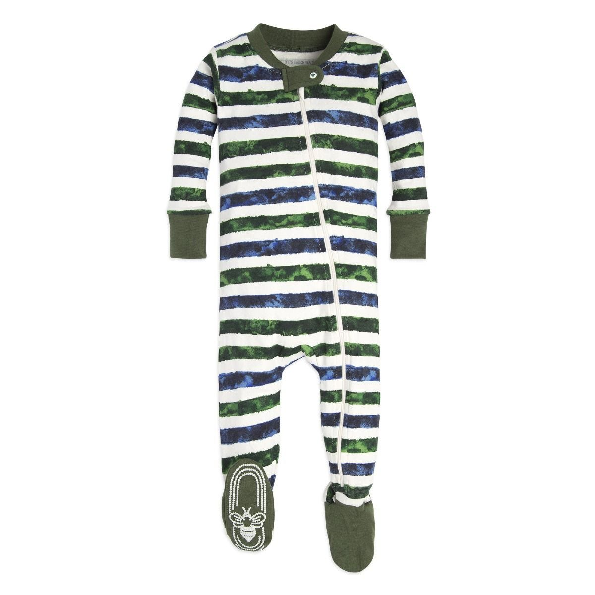 dc73564d5 Two Tone Stripe Organic Baby Zip Up Footed Pajamas