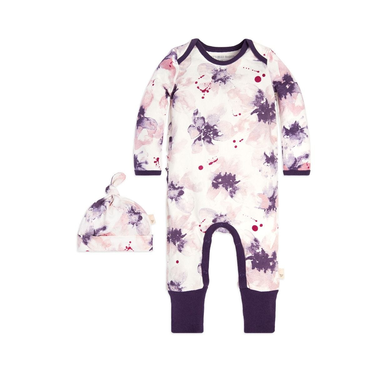 95de423c8 Exploded Petals Ruffle Organic Baby One Piece Jumpsuit & Hat Set