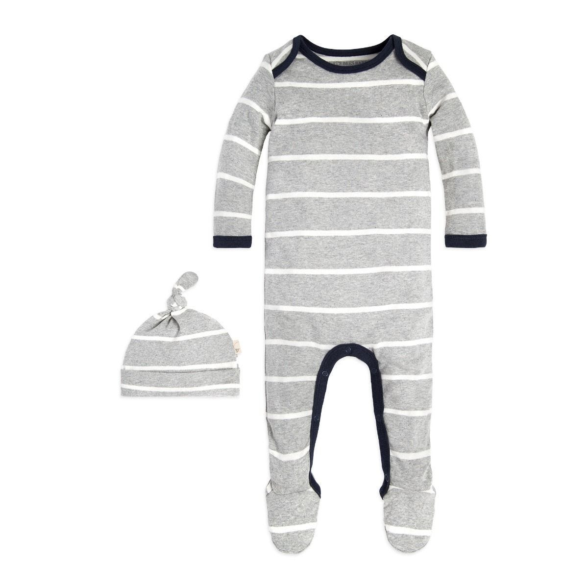 871d1ac7d2e1 Variegated Stripe Footed Organic Baby One Piece Jumpsuit   Hat Set