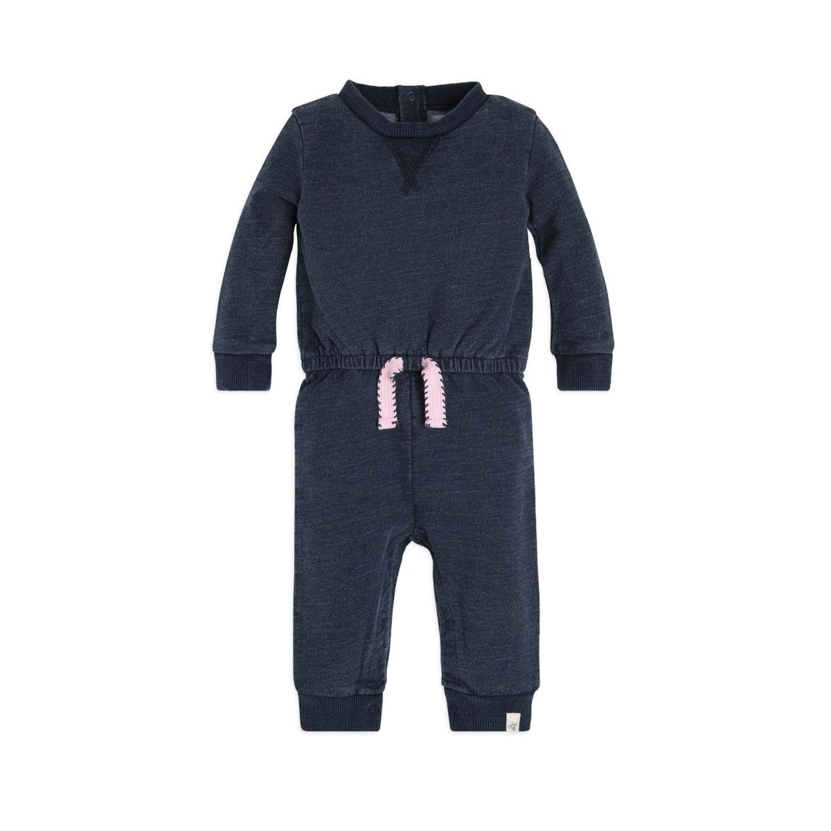 French Terry Denim Wash Organic Baby One Piece Jumpsuit