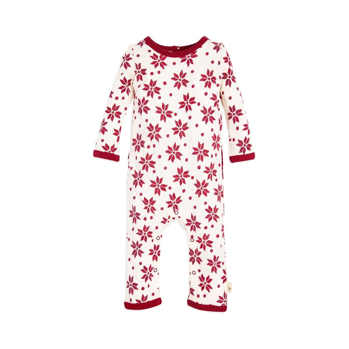 4d72ea6f1 Snowflake Ruffled Organic Baby Girls One Piece Jumpsuit