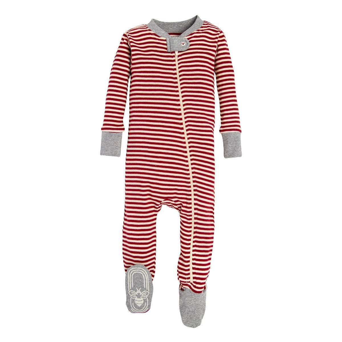 8e26e5a643 Candy Cane Stripe Organic Baby Holiday Matching Zip Up Footed ...