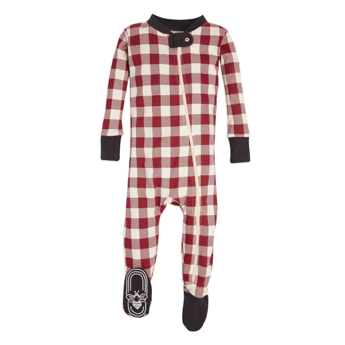 b7c5ae832 Buffalo Check Organic Baby Holiday Matching Zip Up Footed Pajamas