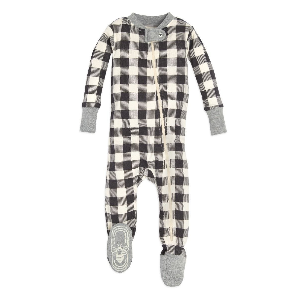Buffalo Check Organic Baby Zip Up Footed Pajamas e236539b7