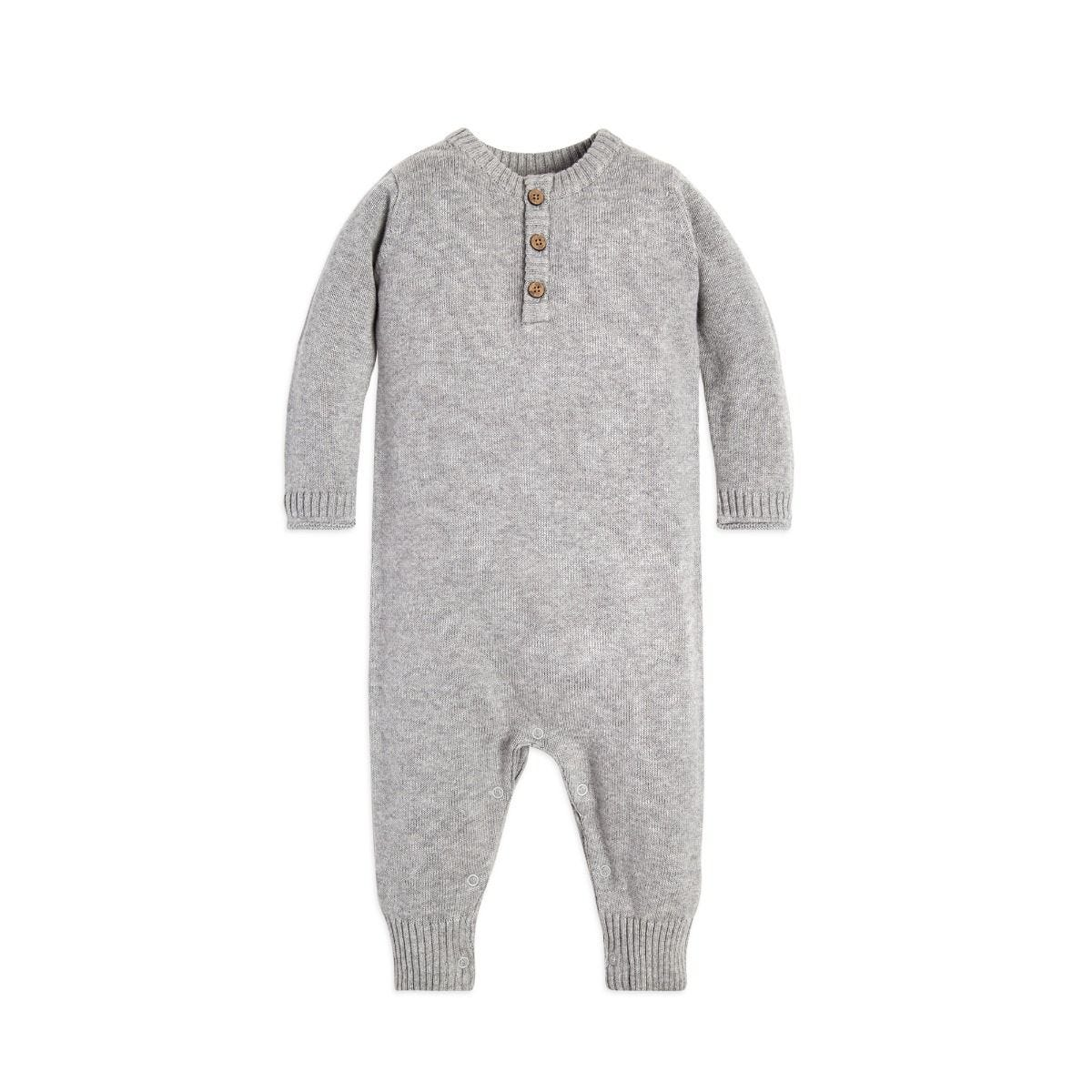 4a7d9adf30ce Baby Organic Sweater Knit Henley One Piece Jumpsuit