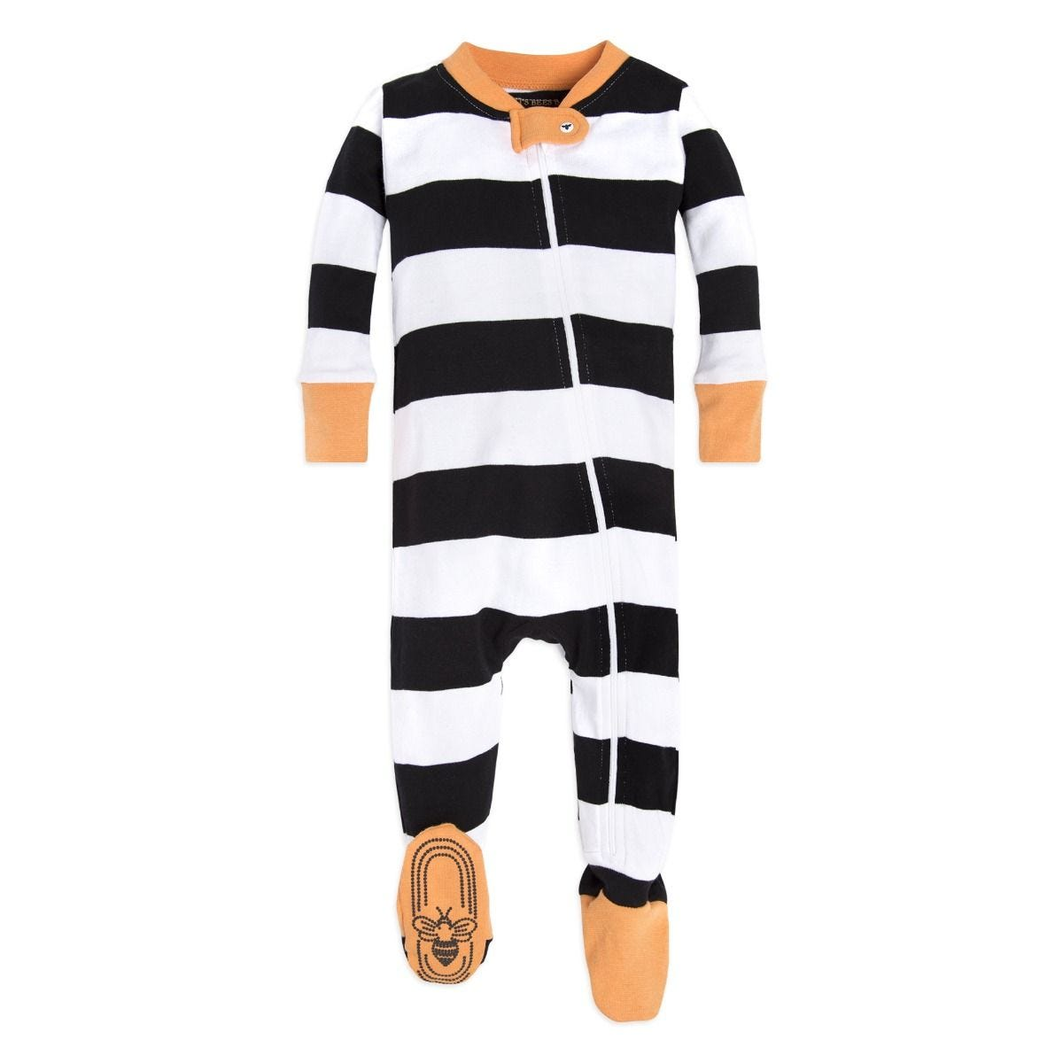 Halloween Rugby Stripe Baby Organic Zip Up Footed Pajamas 124fc9247