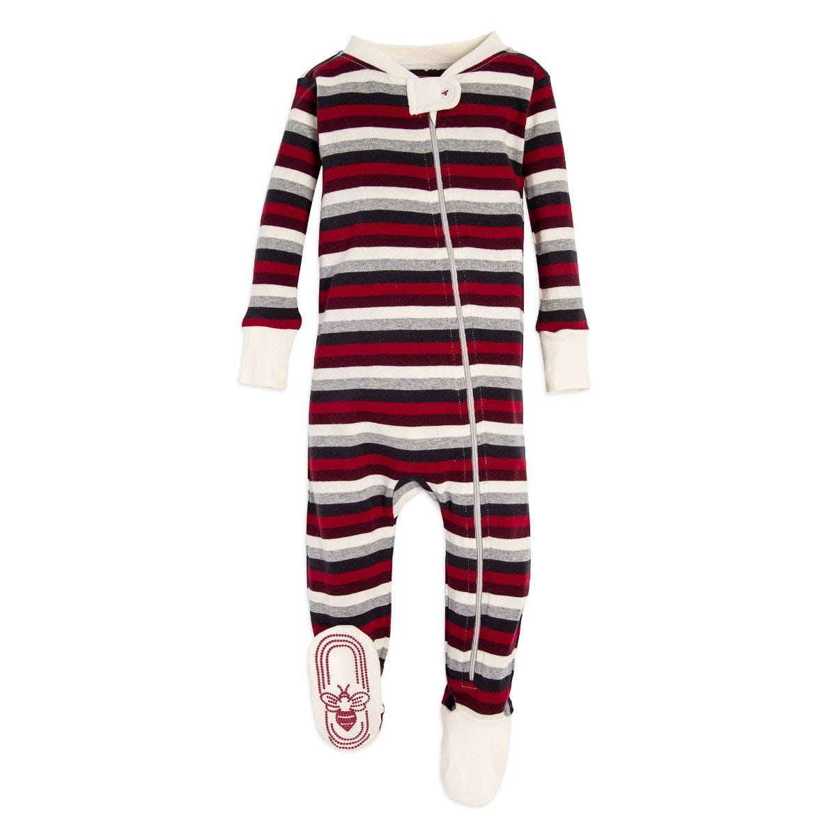 71b2f847b Multi Stripe Organic Baby Zip Up Footed Pajamas
