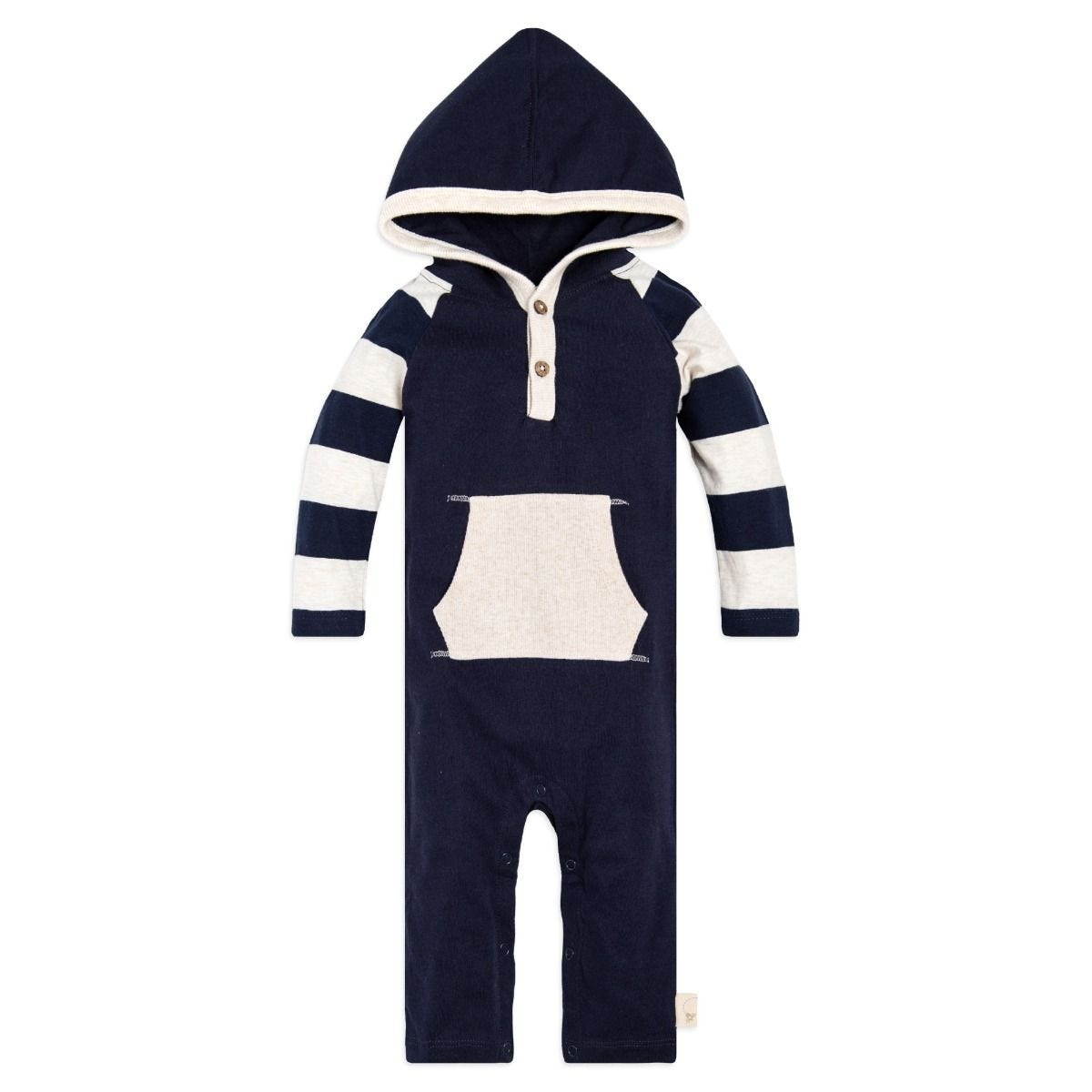 3be81b46dfe1 Baby Rugby Stripe Hooded Organic One Piece Jumpsuit