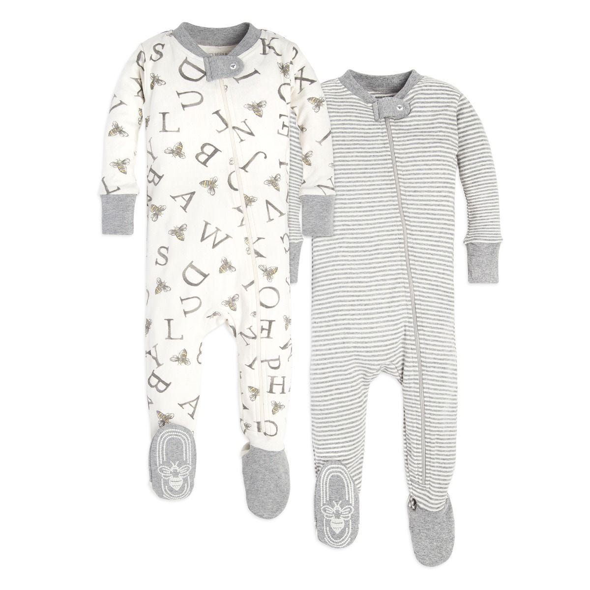 22904d4f6 Baby Set of 2 Organic Cotton Zip Front Footed Pajamas