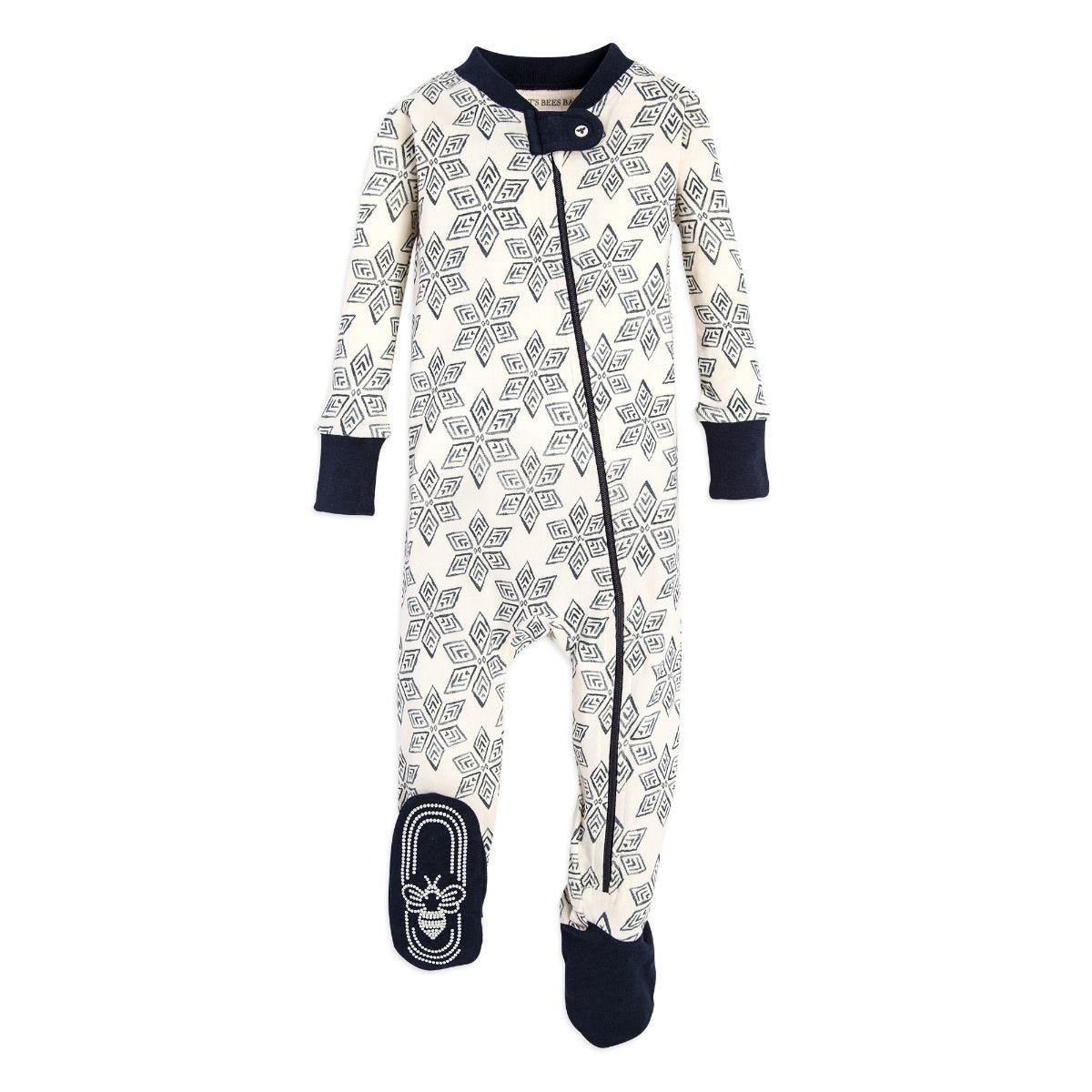 0e45c062e271 Arctic Snowflake Organic Baby Zip Up Footed Pajamas