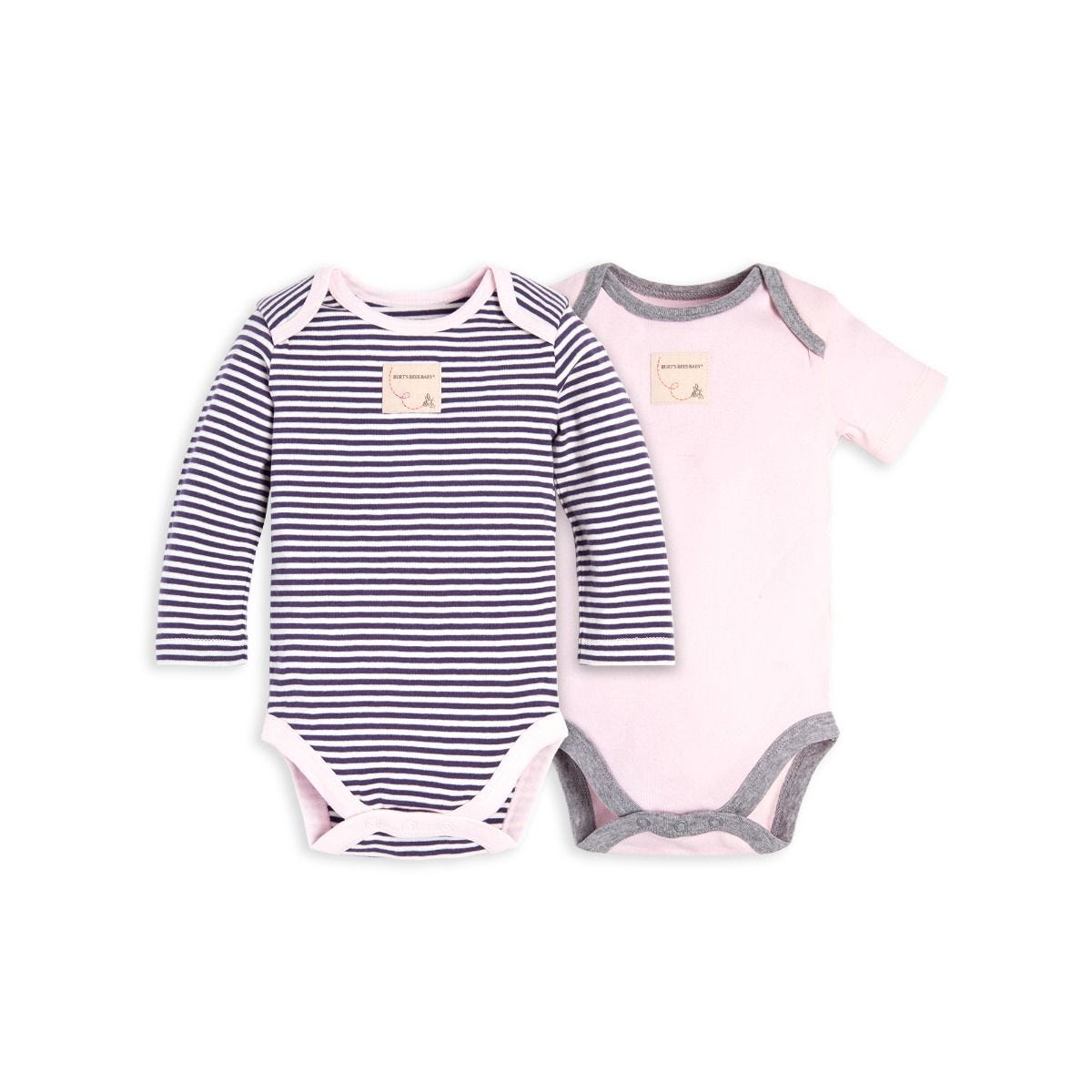 Set Of 2 Classic Stripe Organic Baby Bodysuits
