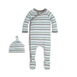 ccb77c64aaa1 Sixties Vintage Stripe Organic Baby Footie Jumpsuit   Knot Top Hat Set