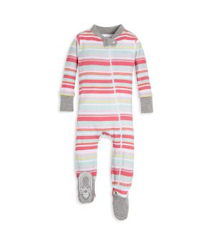 2a31168f9dc Vintage Multi-Stripe Organic Baby Zip Up Footed Pajamas