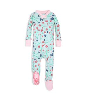 Bethel Woods Floral Print Organic Baby Zip Up Footed Pajamas. Snug Fit  Sleepers b8f97d645