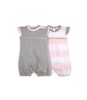 Rugby Peace Stripe and Floral Trim Organic Baby Bubble Romper 2 Pack fdbd81abf1b9