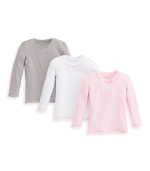 bc26ae5ad83 Solid V-Neck Organic Toddler Girls Long Sleeve Tees 3-Pack
