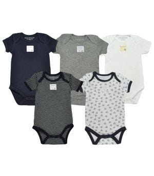 68408ac015 Bee Essentials Organic Short Sleeve Baby Bodysuits Set of 5