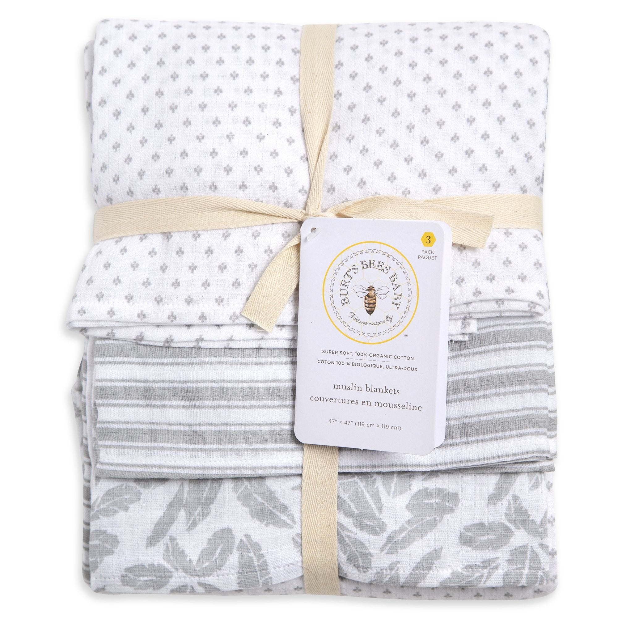 "Muslin Swaddle Blanket 100/% Soft Muslin Cotton 3 Pack 47/""x 47/"" Classic Grey for"