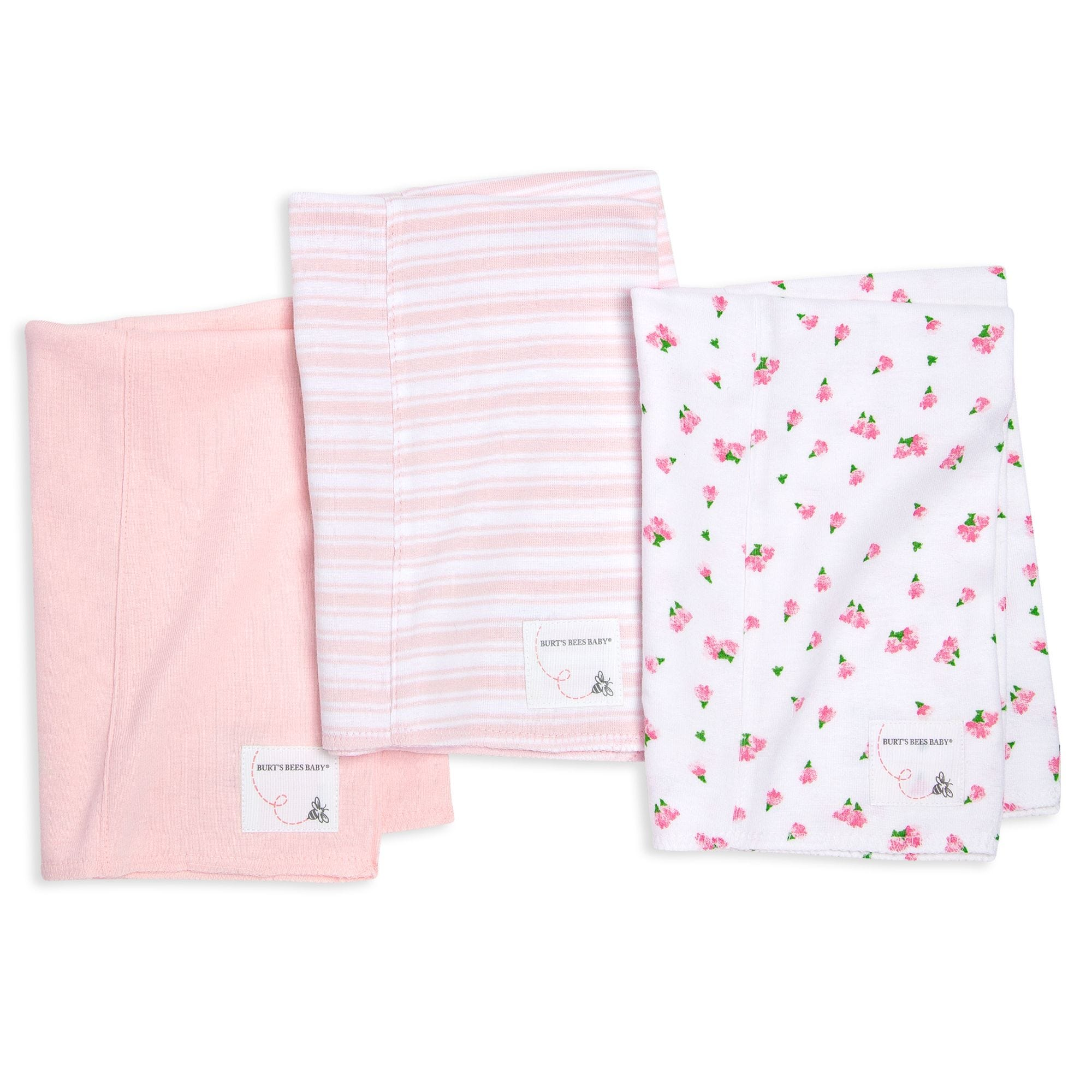 Extra Absorbent 3 Pack Organic Tossed Tulip Burp Cloths