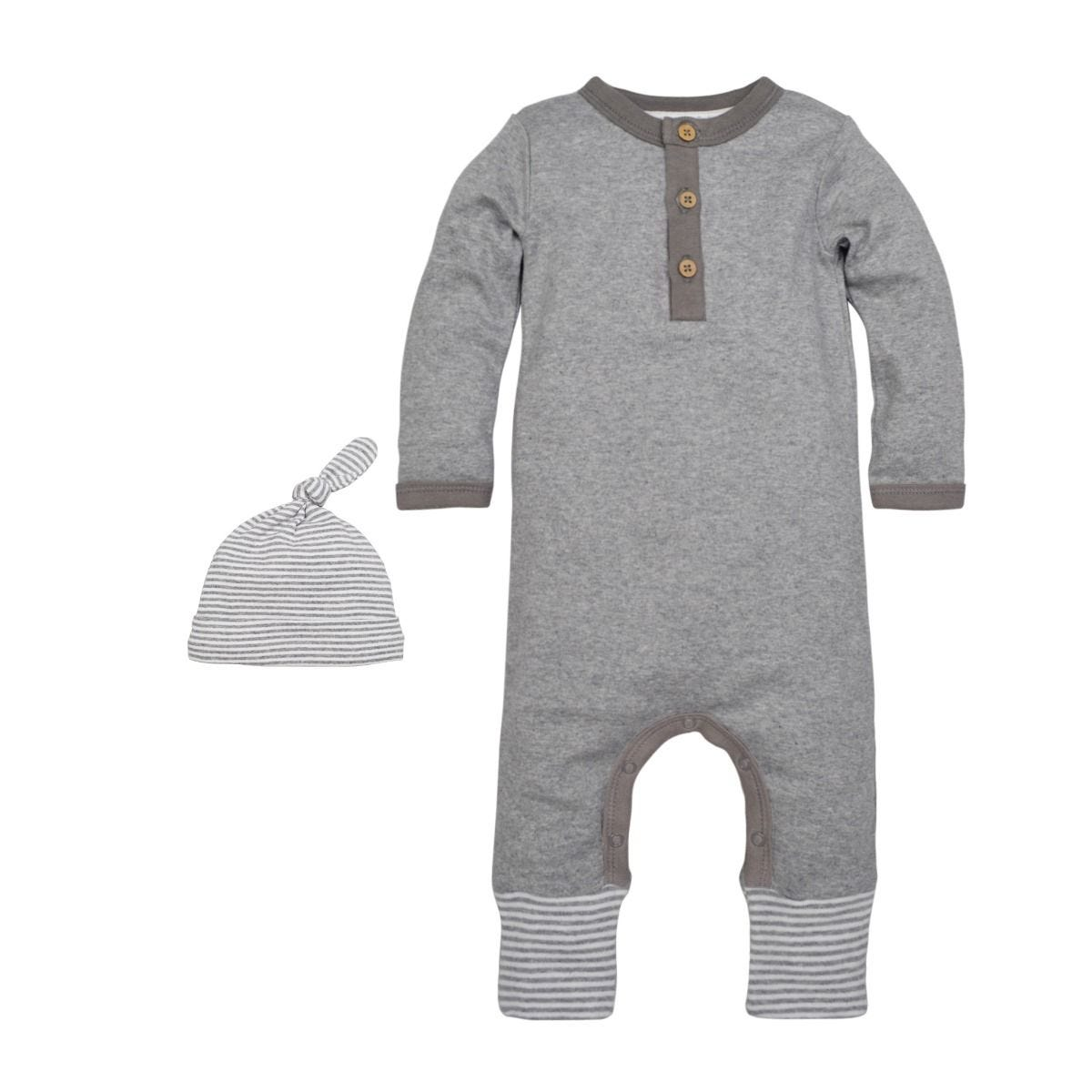0fee13f9554 Neutral Grey Henley Organic Baby Romper & Hat Set | Burt's Bees Baby®