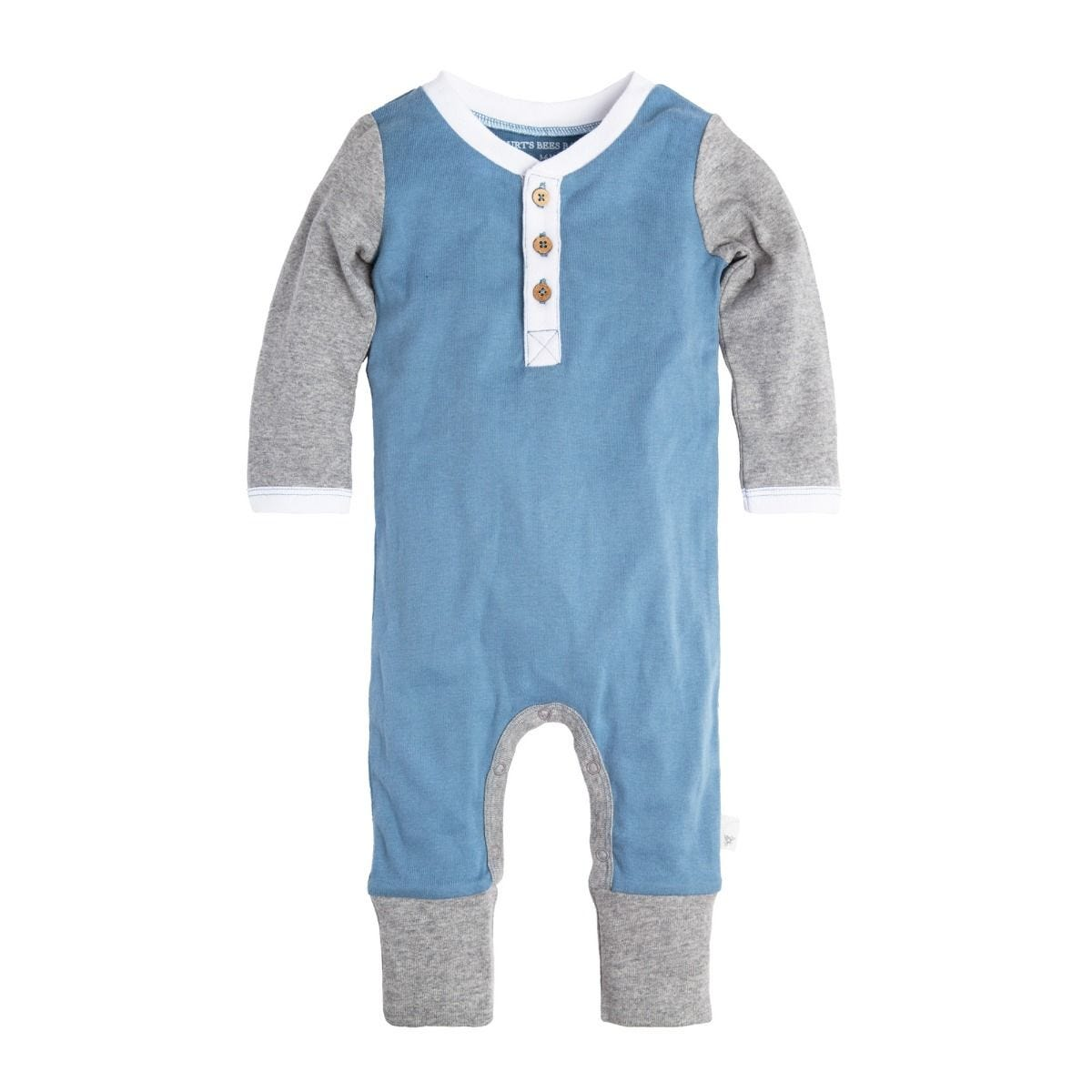 d1684a0264b Henley Blue Organic Baby Coveralls with Hat | Burt's Bees Baby®