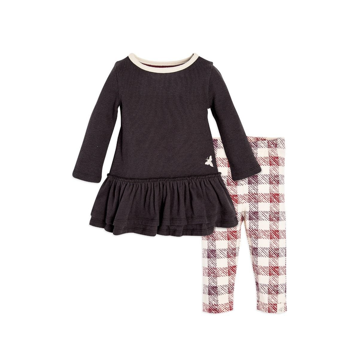 120b6d27f Thermal Skater Organic Baby Girls Charcoal Dress & Legging Set
