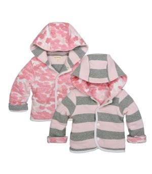 Snap Front Hooded Organic Baby Reversible Jacket