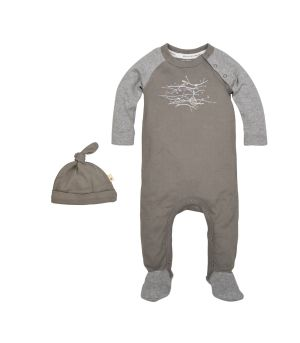 Hive in the Trees Organic Baby Footed One Piece Jumpsuit with Hat