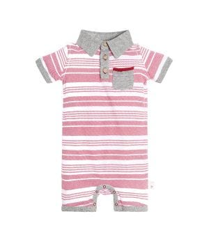 Faux Twill Striped Organic Baby One Piece Romper
