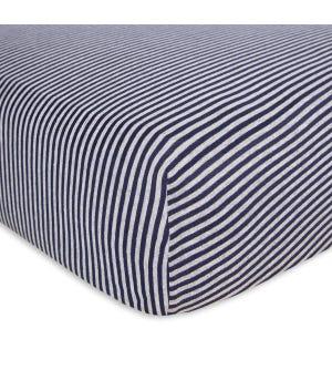 Stripe Organic BEESNUG? Fitted Crib Sheet - Blueberry - Crib