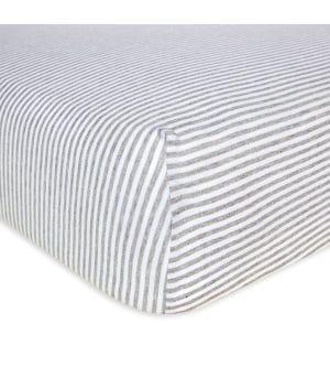 Stripe Organic BEESNUG? Fitted Crib Sheet - Heather Grey - Crib