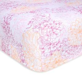 Peach Floral Print Organic Cotton Beesnug Fitted Crib Sheet