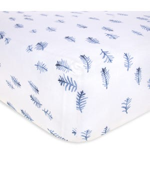 In the Pine Trees Watercolor Print Organic Cotton BEESNUG® Fitted Crib Sheet