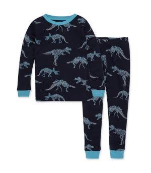 Dino Skelly Organic Big Kid Snug Fit Pajamas